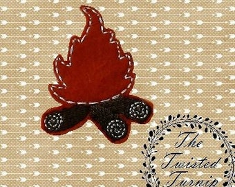 5x7 Hoop Cute Realistic Campfire Feltie Felt Felty Embroidery Design Instant Download by The Twisted Turnip