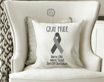 Funny Machine Embroidery Designs Senior Citizen Gray Pride We're Old We're Tired Get Off Our Lawn Original Digital File 5x7 Pillow Wall Art