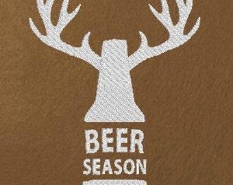 Funny Machine Embroidery Design Beer Season Deer Season Hunting Original Digital File Instant Download 5x7 Hoop