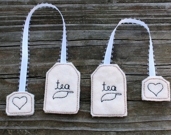 Kid's Felt Food Breakfast Tea Bags Machine Embroidery Design Set Tea Party Instant Download 5x7 Hoop Play Food
