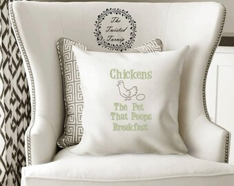 7 x 12 Hoop Funny Machine Embroidery Design Pillow Kitchen Farm Chickens The Pet That Poops Breakfast Original Digital File Instant Download