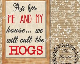 Funny Arkansas Razorbacks Hogs Call The Hogs Machine Embroidery Design 5x7