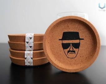 Heisenberg Coasters   Set of 4   Exclusive cork coasters