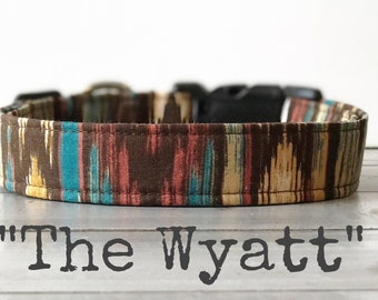 DOG COLLAR, Made to Order, Aztec, Gender Neutral Dog Collar, Turquoise - The Wyatt