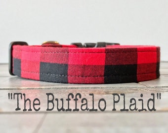 Buffalo Plaid DOG COLLAR, Made to Order, Buffalo Check, Cool COLLAR,  Gender Neutral Dog Collar, Cozy Collar