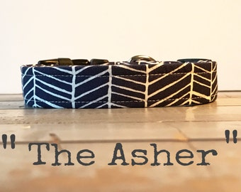 Modern DOG COLLAR, Made to Order, Navy Chevron, Adjustable Collar, Cool COLLAR,  Gender Neutral Dog Collar, Cozy Collar