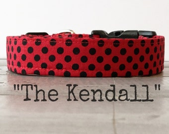 DOG COLLAR, Red Dog Collar, Red and Black Polkadot, Gender Neutral Dog Collars - The Kendall