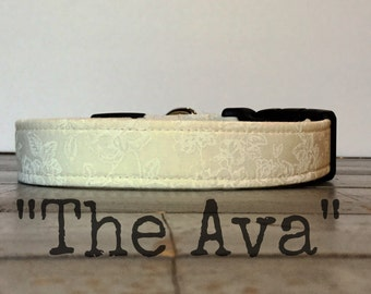 WEDDING DOG COLLAR, The Ava, Dog Collar for Girls, Wedding, Pretty Dog Collars, Classic Dog Collar