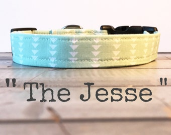 Modern DOG COLLAR, Made to Order, Mint Aztec, Gender Neutral Collar
