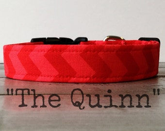 Modern DOG COLLAR, Red Dog Collar, Red Chevron,  Gender Neutral Dog Collars - The Quinn