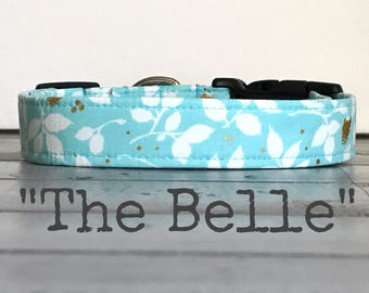 DOG COLLAR, The Belle, Dog Collar for Girls, Aqua with Gold,  Dog Collars, Pretty Dog Collars
