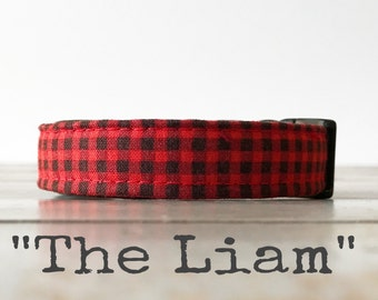 DOG COLLAR, Made to Order, Mini Buffalo Plaid, The Liam, Buffalo Check, Cool COLLAR,  Gender Neutral Dog Collar, Cozy Collar