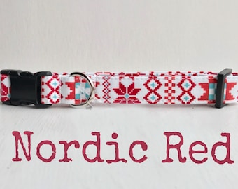 DOG COLLAR, Dog Collars, The Nordic Red, Winter Dog Collar, Girl Dog Collar, Boy Dog Collar, Winter Quilt Dog Collars