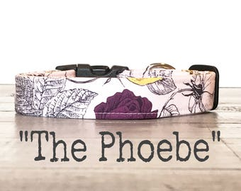 Dog Collars for Girls, Floral DOG COLLAR, Dog Collars, The PHOEBE, Pink, Floral, Black, Pretty Dog Collar
