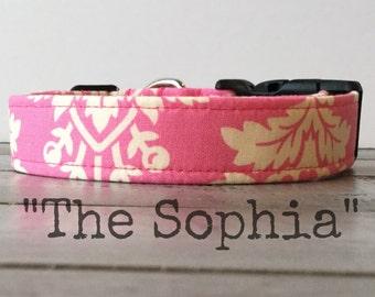 Pretty DOG COLLAR, Dog Collar for Girls, Pink Dog Collar - The Sophia
