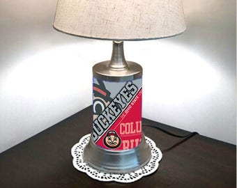 Table Lamp with shade, Ohio State Buckeyes plate rolled in on the lamp base