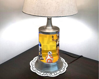 Star Wars Lamp with shade, C3PO, R2D2, BB8