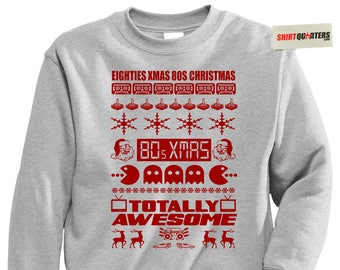 Totally Awesome 80s Eighties XMAS holiday national lampoons merry Christmas vacation elf flashback retro throwback arcade sweater sweatshirt