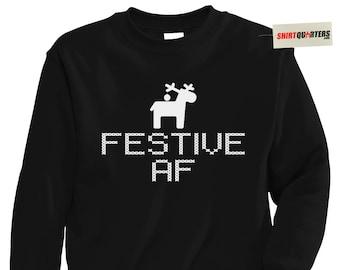 Festive AF black sexy dark attitude bad santa fred claus 2 mrs bitch nope merry Christmas eve naughty or nice elf movie costume sweatshirt