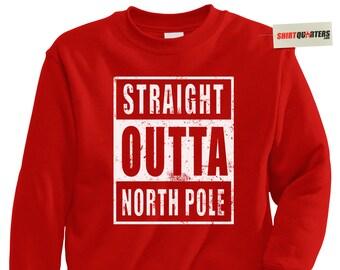 Straight Outta North Pole Compton NWA doctor dr dre ice cube eazy e gangsta gangaster LA thug life ugly tacky santa claus sweatshirt sweater