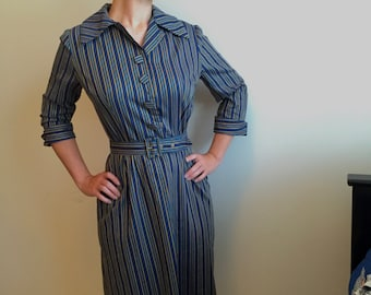 Vintage 50s 60s Blue and Yellow Striped Shirt Dress
