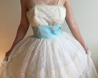 Vintage 1950's Ivory Flocked Chiffon with Aqua Blue Taffeta Sash Evening Prom Gown