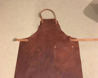 Full grain leather apron/shop apron/grilling apron/cookout all leather.