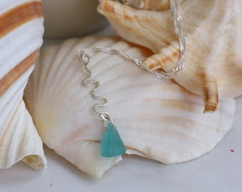 Sterling Silver and Pale Turquoise Seaglass Necklace