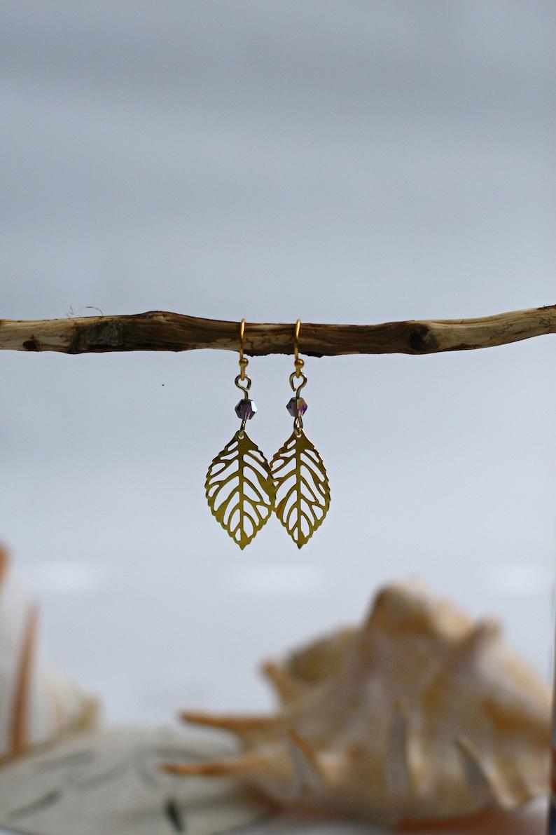 leaf dangl earrings Bridesmaid gifts Gold leaf filligree earrings Gold earrings Smokey Purple Dainty delicate gold leaf dangle earrings