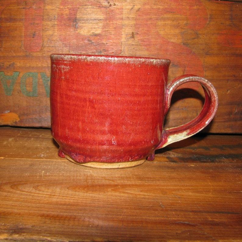 Handmade Red Pottery Mug, Fancy Ceramic Mug, Stoneware Coffee Cup, Red Mug,  Coffee Mug, Tea Cup, Handmade Christmas Gift, Ash Glaze, Latte