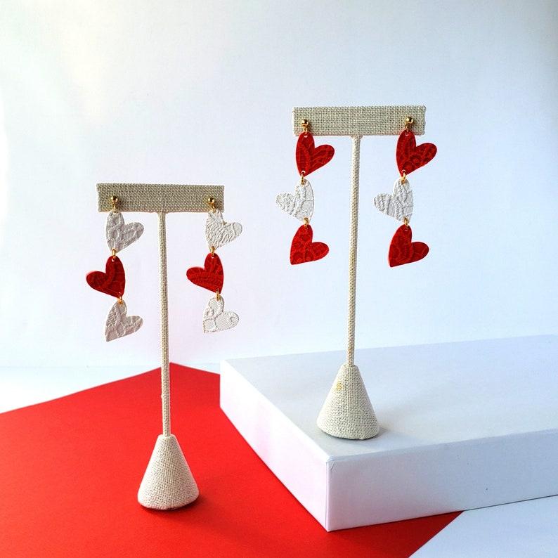 romantic jewelry galentines day gift ideas Valentines day heart earrings gift under 30 modern earrings red heart dangle earrings