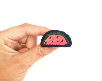 embroidered watermelon: patch pine handmade brooch