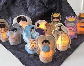 Nativity tea light set, 11 piece craft felt perfect for seniors or youth!