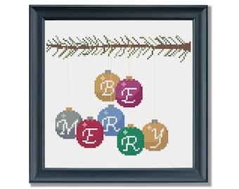 Be Merry - Holiday Decoration Christmas Ornament Cross Stitch PDF PATTERN