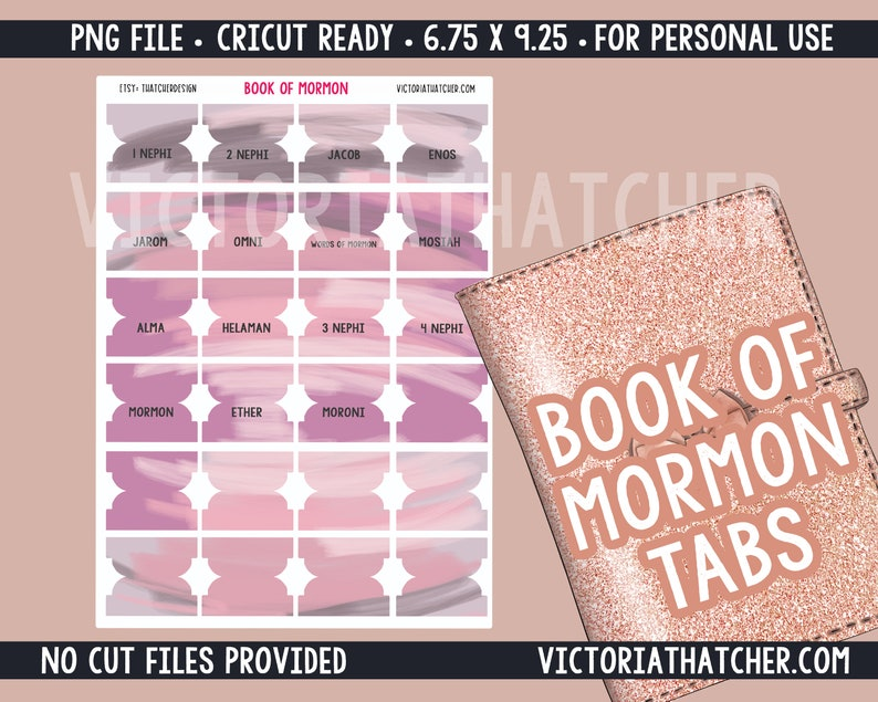 Book of Mormon Tabs Digital Download PNG  Cricut Ready image 0