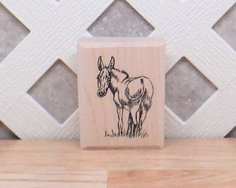 Barn Christmas Nativity Scene Rubber Stamp donkey horse cow pig Q19601 WM