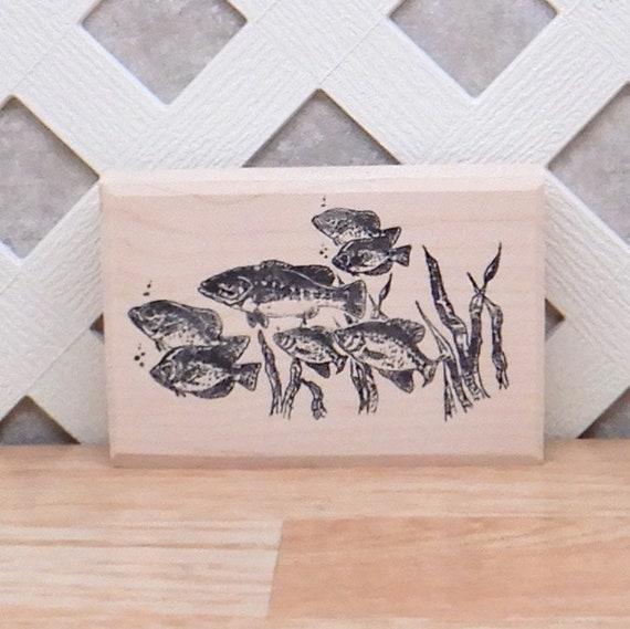 Wooden stamp school of fish