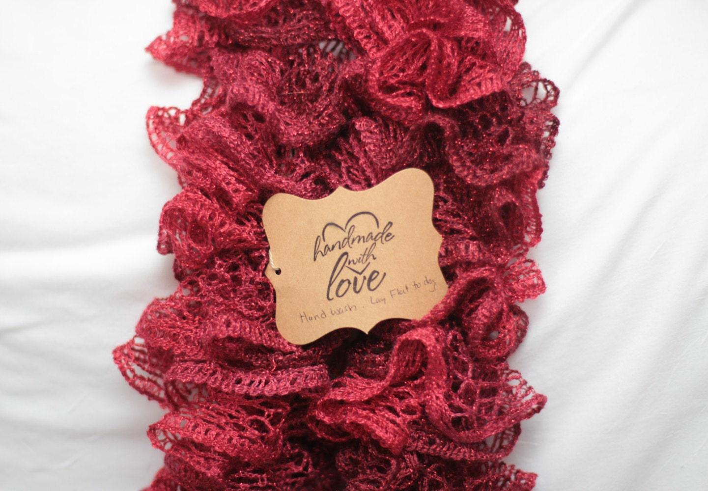 Red Ruffle Scarf Sashay Ballerina Wrap Crochet Ruffle Etsy