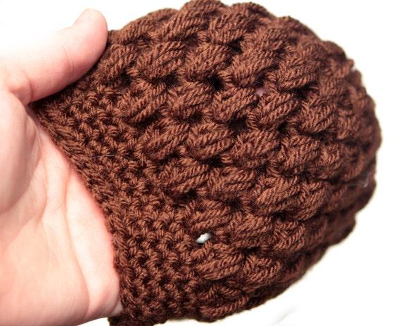 b4cafb2ed3a Chocolate Brown Puff Stitch Newborn Preemie Hat Crochet