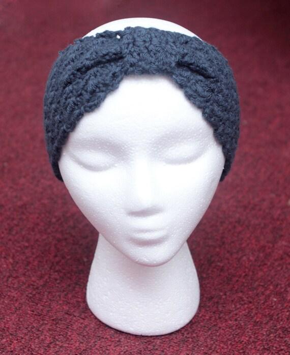Dril de algodón del ganchillo azul oído calentador con detalle | Etsy