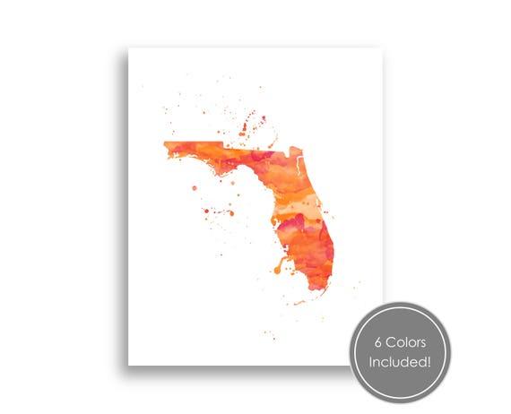 Florida State Watercolor Splatter Art Printable Florida Map Etsy