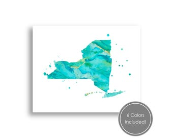 new york state watercolor splatter art printable new york map silhouette digital wall art
