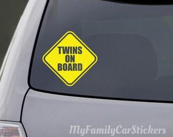 1199061e050 Twins On Board Car Decal