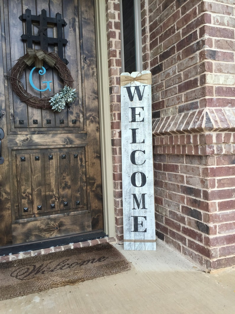 Rustic Wood Welcome Sign Vertical Wooden Welcome Sign 58 Tall By Approximately 10 Widewelcome Sign Front Porchfront Door Welcome Sign