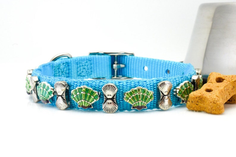Beach Theme Collar Dog Collar Turquoise Nylon Collar Beach Dog Collar Shell Pet Collar Sea Shell Dog Collar Bright Blue Collar 14