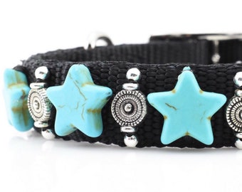 Turquoise Star Dog Collar, Star Dog Collar, Turquoise Dog Collar, Turquoise Pet Collar, Western Dog Collar, Southwest Collar, 12""