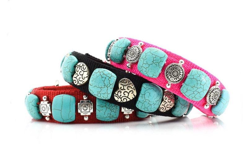 Girl Southwest Dog Collar 16 Girly Western Dog Collar Western Style Dog Collar Dog Collar With Turquoise Pink Turquoise Dog Collar