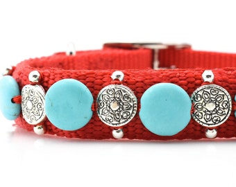 Red & Turquoise Dog Collar, Red Dog Collar, Turquoise Dog Collar, Western Girls Dog Collar, Girls Southwest Dog Collar, Southwest Pet Collar