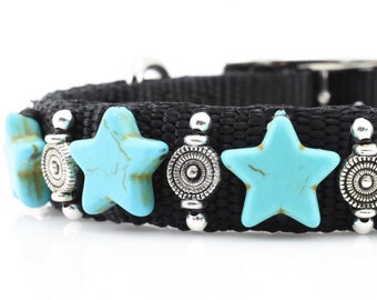 Turquoise Star Dog Collar, Star Dog Collar, Turquoise Dog Collar, Turquoise Pet Collar, Western Dog Collar, Southwest Collar, 10""