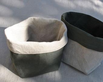 Copper Reversible Linen Fabric Basket